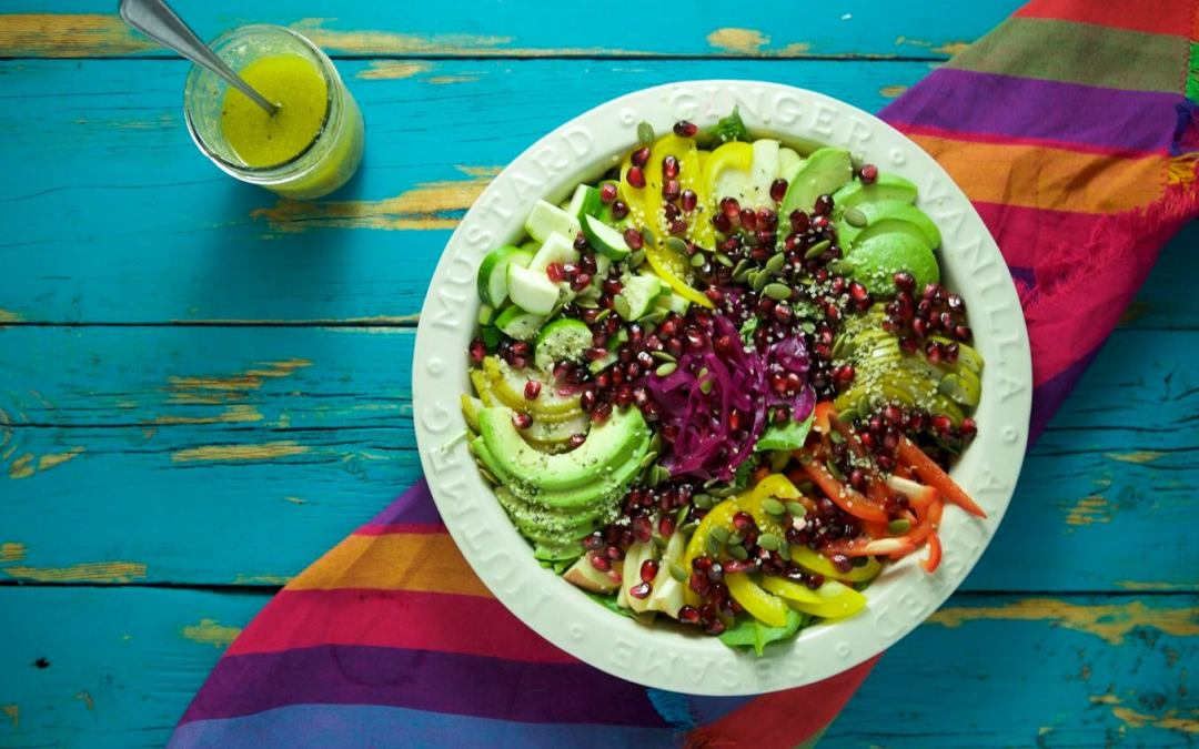 Rainbow Superfood Salad with Lemon Basil Dressing
