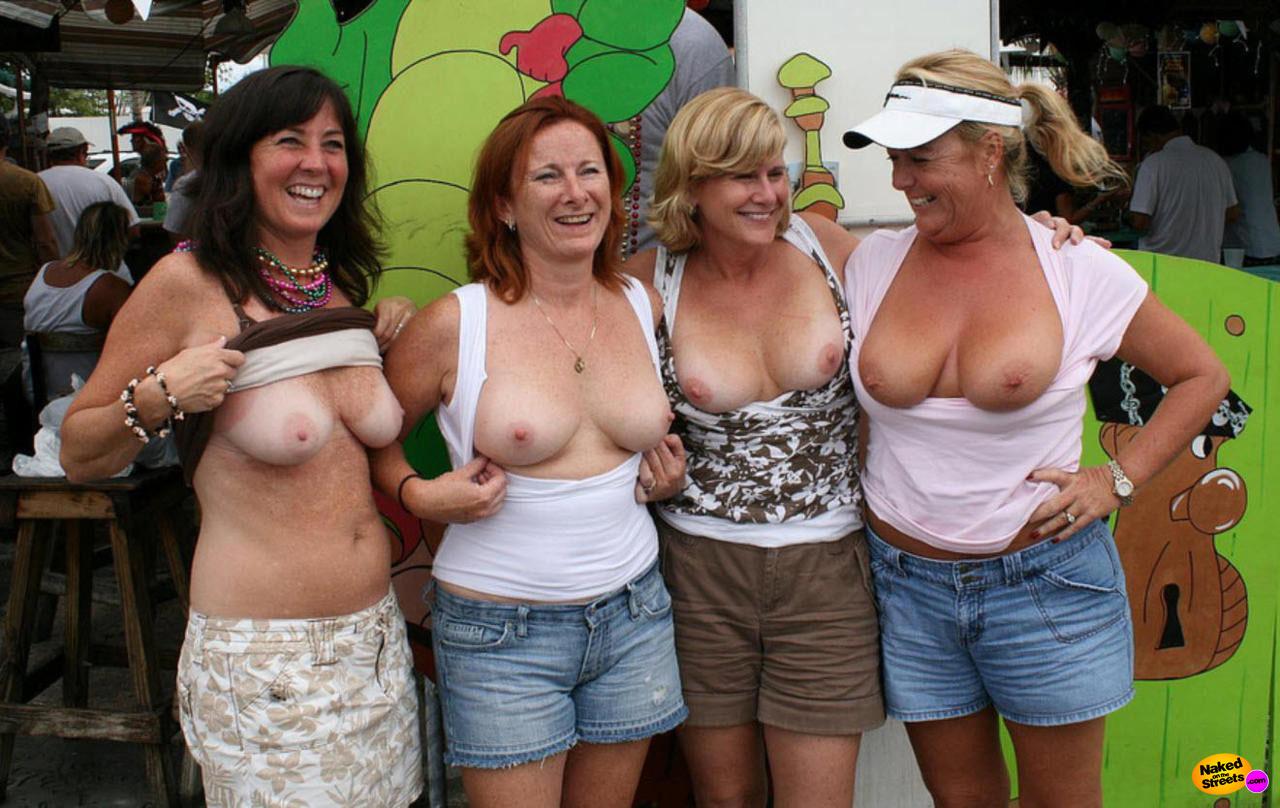 wife flashing tits in public