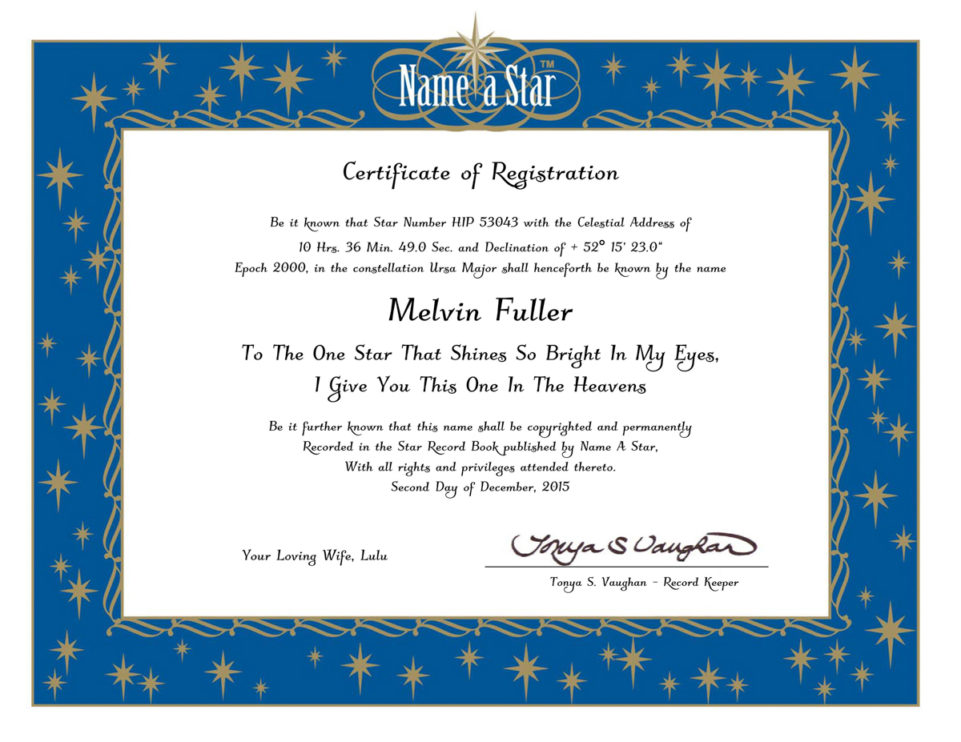 Name a Star Instant Certificate Name a Star