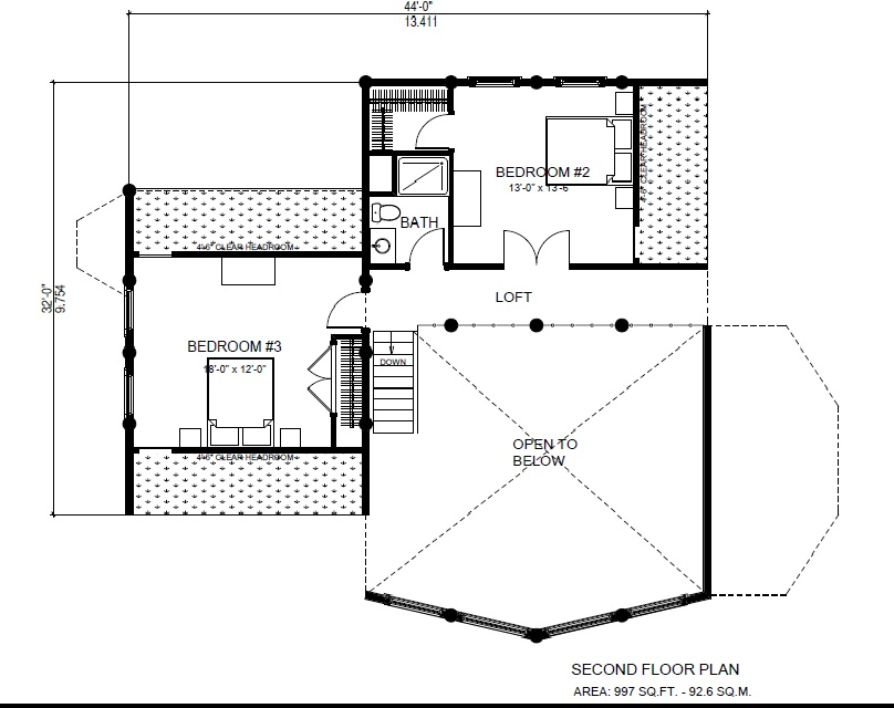 Log Post And Beam 3 Bdr Floor Plan North American Log