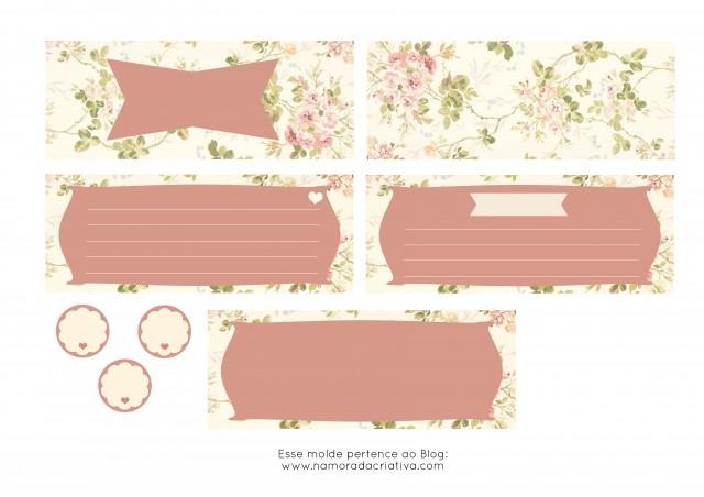Molde Cartão dia dos Namorados Rosa lado em branco