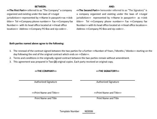 Ne0006 Contract Renewal Agreement Template u2013 English - contract amendment template