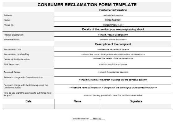 NE0187 Consumer Reclamation Form Template \u2013 English \u2013 Namozaj - consumer form