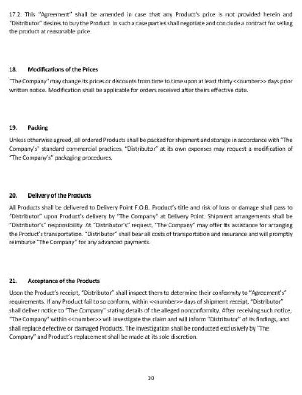 NE0189 Distribution of Goods Agreement Template \u2013 English \u2013 Namozaj