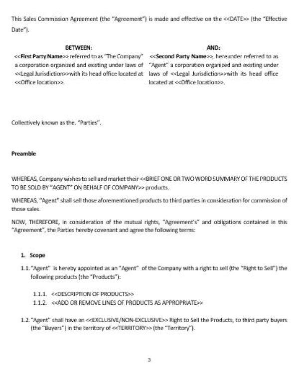 Sales Agency Agreement Template Ne0178 Sales Commission Agreement - commission contract template