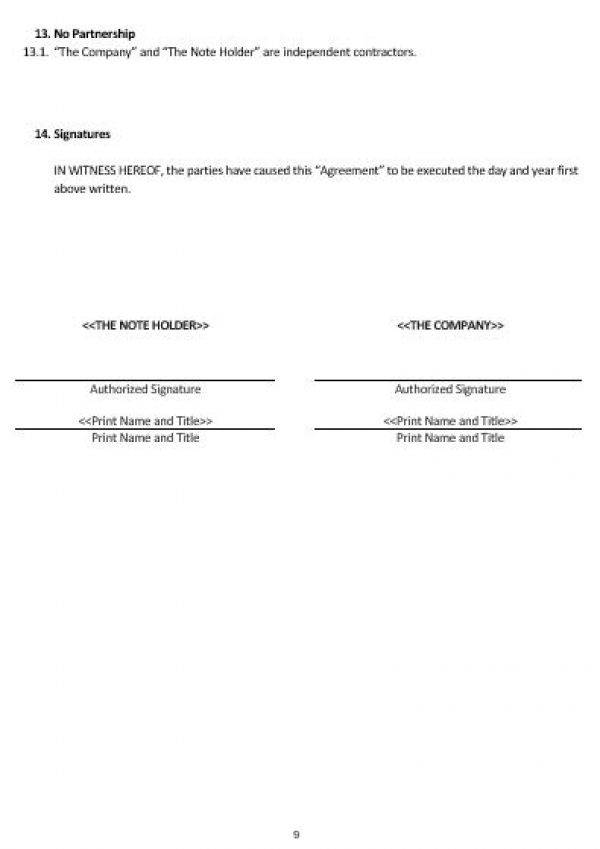 Convertible-note-agreement-template-61 6+ promissory note - convertible note agreement template