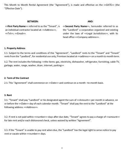 NE0148 Month to Month Rental Agreement Template u2013 English u2013 Namozaj - parking agreement template