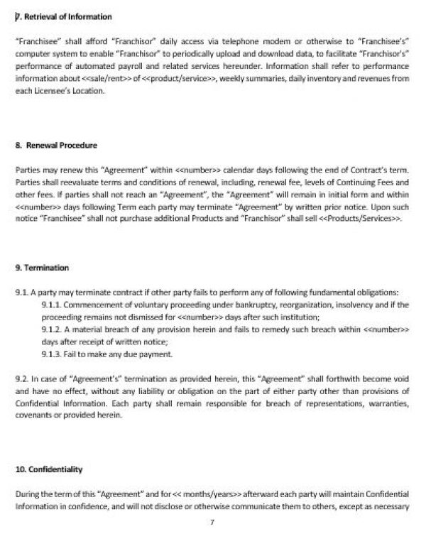 Knowing About Franchise Contracts Page Pandora Fact Sheet By - franchise agreement form