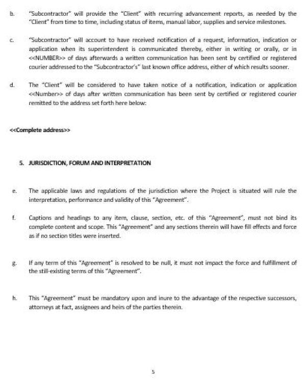 NE0225 SUBCONTRACTOR AGREEMENT TEMPLATE \u2013 ENGLISH \u2013 Namozaj - subcontractor agreement template