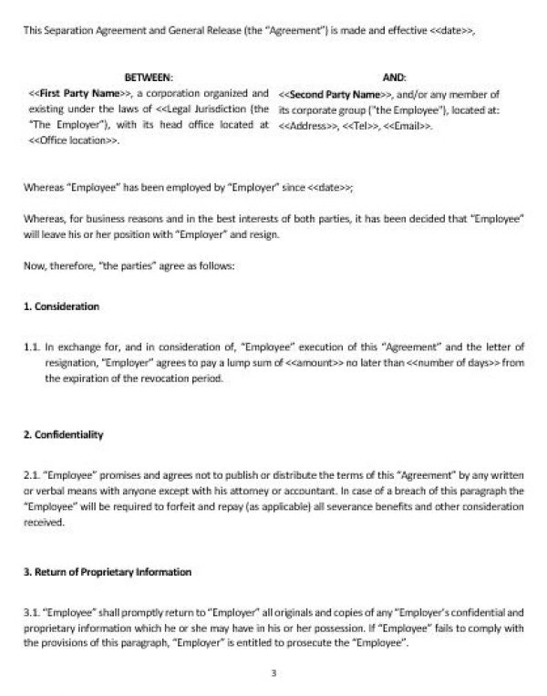 NE0222 Separation and General Release Agreement Template \u2013 English - general release template