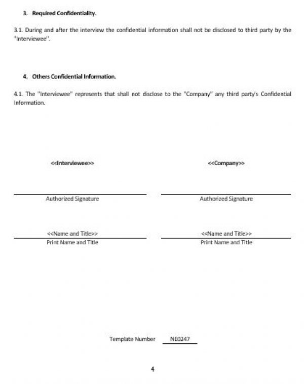 NE0247 Interviewee Non-Disclosure and Confidentiality Agreement