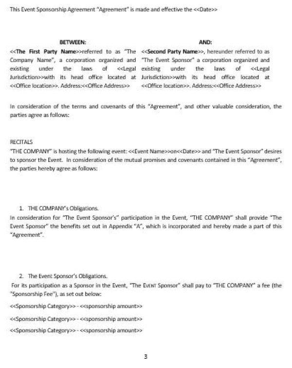 NE0285 EVENT SPONSORSHIP AGREEMENT TEMPLATE \u2013 ENGLISH \u2013 Namozaj - event agreement template