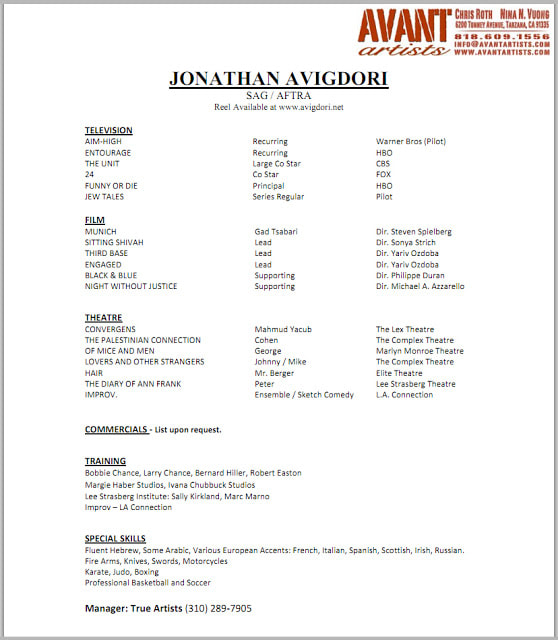 Actor Resume - NANCY CHARTIER STUDIOS - what should a resume look like
