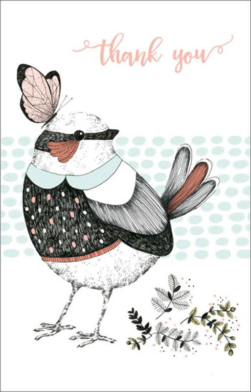 The Art File - Bird / Butterfly - Thank You Card #AFNC125PK - butterfly thank you cards