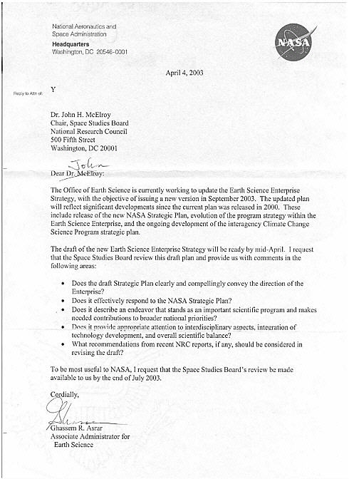 Appendix A Letter of Request Assessment of NASA\u0027s Draft 2003