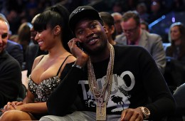NEW YORK, NY - FEBRUARY 15:  Nicki Minaj and Meek Mill attend the 2015 NBA All-Star Game at Madison Square Garden on February 15, 2015 in New York City.  NOTE TO USER: User expressly acknowledges and agrees that, by downloading and/or using this photograph, user is consenting to the terms and conditions of the Getty Images License Agreement.  (Photo by Elsa/Getty Images)