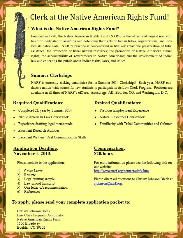NARF seeking applicants for 2014 Summer law clerk positions - Native