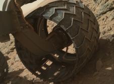 Left-front wheel of NASA's Curiosity Mars rover