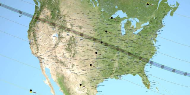 continental US map of 2017 solar eclipse path