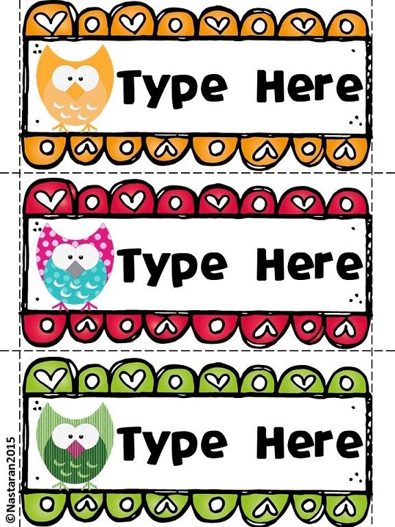 Editable Owl Themed Desk Name Tags \u003e Nastaran\u0027s Resources