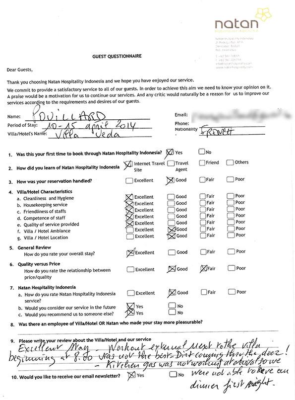 Natan Hospitality Guest Feedback Form - service feedback form