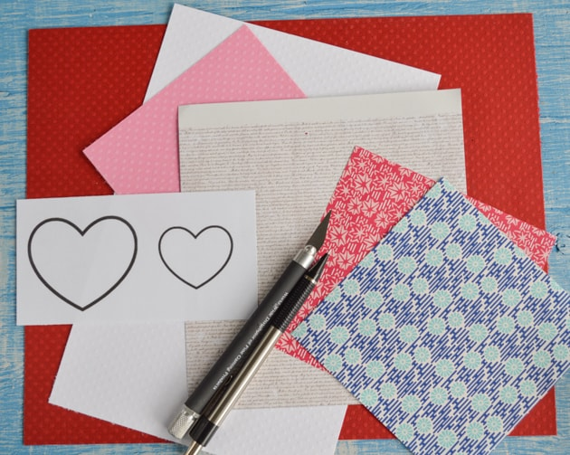 supplies for making heart bookmarks
