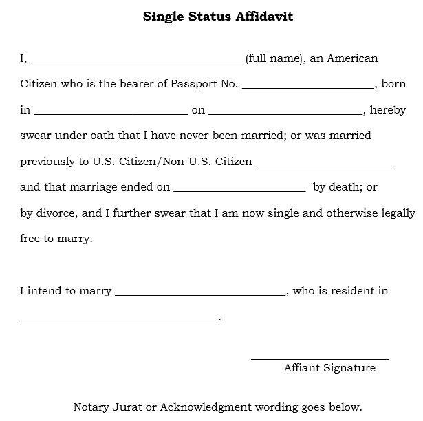 Single Status Affidavit Apostille - name affidavit form