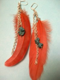 Red feather earrings | The National Arts Program Foundation