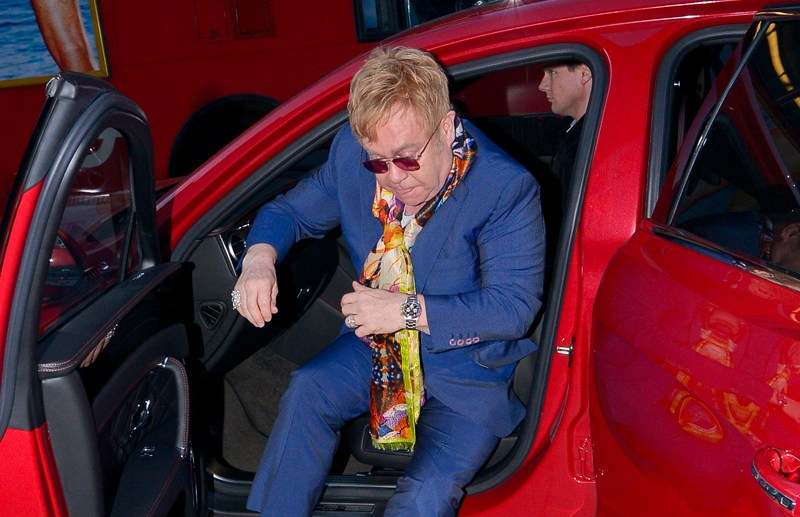 Sir Elton John and husband David Furnish arrive at the HMV store in Oxford Street to promote his new album.    3rd February 2016  Pictured: Sir Elton John Ref: SPL1220799  030216   Picture by: Mirrorpix  Splash News and Pictures Los Angeles:310-821-2666 New York:212-619-2666 London:870-934-2666 photodesk@splashnews.com
