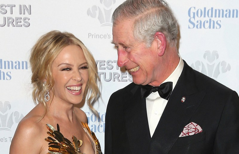The Prince of Wales attends the Prince's Trust Invest in Futures Gala Dinner at Old Billingsgate, London, UK on the 4th February 2016.  Picture by Chris Jackson/WPA-Pool  Pictured: Kylie Minogue, Prince Charles, Prince of Wales Ref: SPL1221296  050216   Picture by: Splash News  Splash News and Pictures Los Angeles:	310-821-2666 New York:	212-619-2666 London:	870-934-2666 photodesk@splashnews.com
