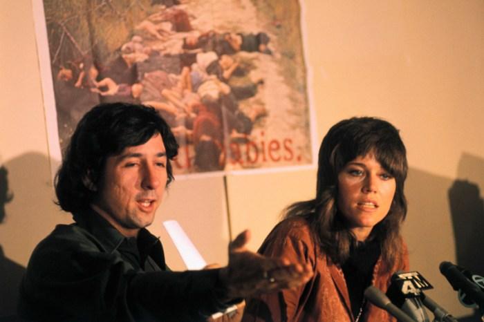 Tom Hayden with Fiancee Jane Fonda