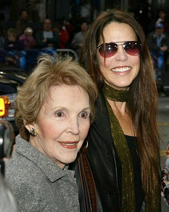 Former US First Lady Nancy Reagan (L) and Daughter Patti Davis Arriving at Peter Pan Premiere