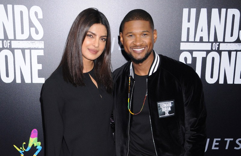 Celebrities arrive on the red carpet to the premiere of 'Hands Of Stone', held at the School of Visual Arts (SVA) in Chelsea, New York City.  Pictured: Priyanka Chopra and Usher Raymond Ref: SPL1339039  230816   Picture by: Johns PKI/Splash News  Splash News and Pictures Los Angeles:	310-821-2666 New York:	212-619-2666 London:	870-934-2666 photodesk@splashnews.com