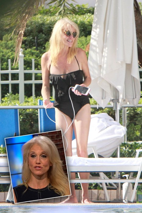 EXCLUSIVE: **PREMIUM EXCLUSIVE RATES APPLY* NO WEB UNTIL 11:30am PST 29th NOV* Kellyanne Conway with her husband George T. Conway III pool-side during the Thanksgiving holidays in Miami