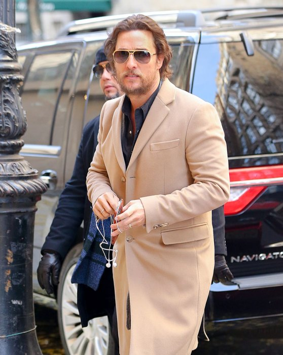Matthew McConaughey wore a camel coat in New York City