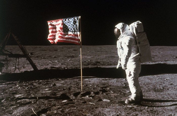 Astronaut Aldrin and American Flag on the Moon
