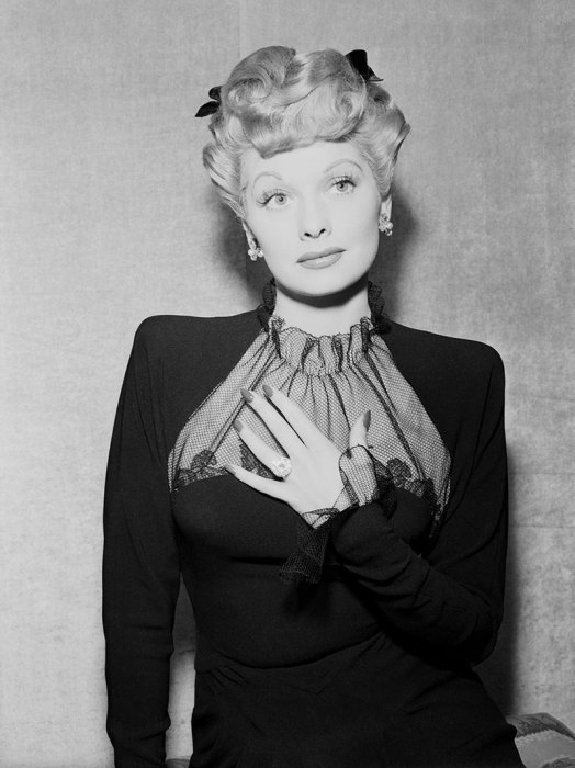 Actress Lucille Ball Posing in Her Engagement Ring