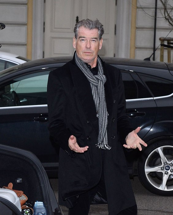 Pierce Brosnan with his wife goes to hotel in Wroclaw, Poland