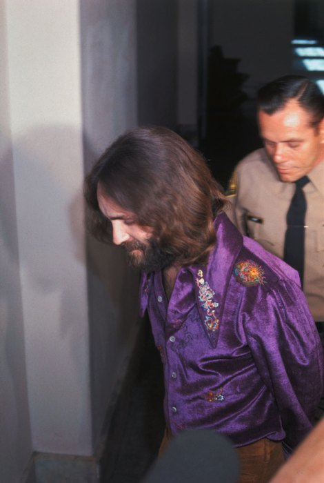 Charles Manson Being Escorted During Trial