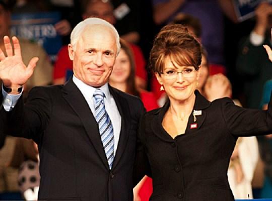 "Ed Harris as Sen. John McCain, Julianne Moore as Sarah Palin/HBO ""Game Change"""