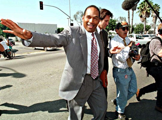 OJ SIMPSON, NOT GUILTY verdict, outside courthouse, 1994