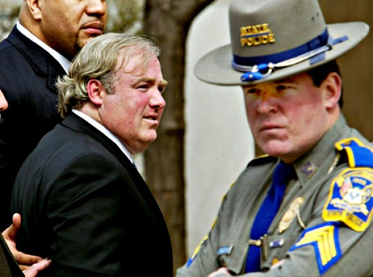 Michael Skakel (C) arrives at Norwalk Superior Court 02 April 2002 for the start of jury selection in his murder trial. Skakel, a cousin of the Kennedy family, will go on trial for the gruesome 1975 slaying of 15-year-old Martha Moxley.