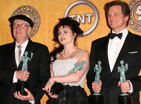 <i>The Kings Speech</i>'s Geoffrey Rush, Helena Bonham Carter and Colin Firth