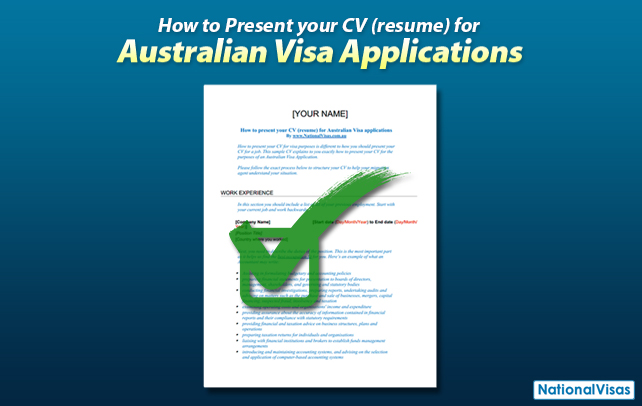 How to present your resume for Australian Visa applications