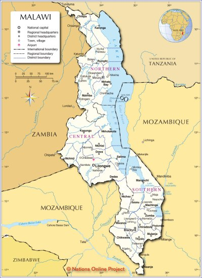 Administrative Map of Malawi - Nations Online Project