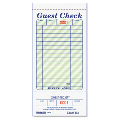 Rediform® Guest Check Book at Nationwide Industrial Supply, LLC - guest check template