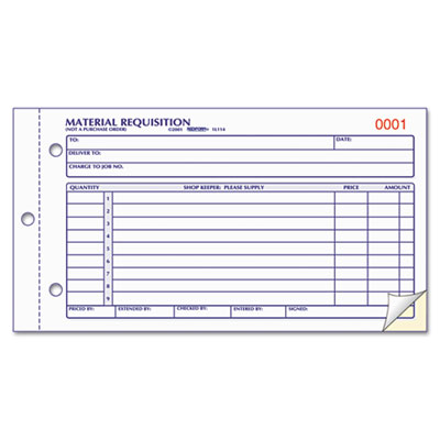 Rediform® Material Requisition Book at Nationwide Industrial Supply, LLC - material request form