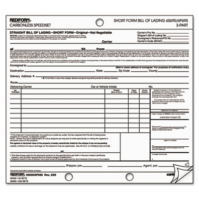 Rediform® Speediset® Bill of Lading, Short Form at Nationwide - truck bill of lading form