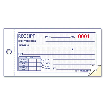 Rediform® Small Money Receipt Book at Nationwide Industrial Supply - free receipt book