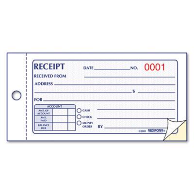 Rediform® - Small Money Receipt Book, 5 x 2 3/4, Carbonless